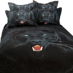 Dolce Mela - 6pc Safari Theme Queen Duvet Covet Bedding Set, Black Panther, Dolce Mela DM413Q - Give a stylish makeover to your bedroom with this animal themed bedding featuring Black Panthers and their life threatening teeth and bright green eyes.