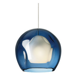 LBL Lighting - FJ Mini Jasper Pendant - Mini Jasper fusion jack pendant features hand-blown outer transparent glass and inner cased opal glass. Outer glass available in clear or steel blue. Finish available in bronze and satin nickel. One 50 watt, 12 volt, JC GY6.35 base xenon lamp included. General light distribution. ETL listed. Includes 6 feet of field cuttable cord. Requires Fusion Jack Canopy, sold separately. 8.7 inch diameter x 7.8 inch height.