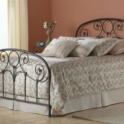 Leggett/Platt Fashion Bed - Metal Bed w Iron Scrollwork in Rusty Gold Finish (Twin) - Choose Bed Size: Twin. Elegant scrolls meet spindles along the headboard and footboard of this rusty gold finished metal bed. This feminine piece inspires thoughts of a more gracious time with its pretty detailing and rounded edges. This lovely bed is a perfect choice for a girl's room or guest quarters. In Rusty Gold finish. Made of Metal. Twin: 39 3/4 in. W x 79 15/16 in. L x 52 1/4 in. H. Full: 54 3/4 in. W x 79 15/16 in. L x 52 1/4 in. H. Queen: 61 3/4 in. W x 84 15/16 in. L x 52 1/4 in. H. King: 77 3/4 in. W x 84 15/16 in. L x 52 1/4 in. HThe prominent scrollwork on this head and footboard is secured in place with decorative banding. And the 12 solid castings give the bed a playful character not found in most iron beds. The heavy tubing creating the overall shape of the bed display softly rounded shoulders that give historic appeal. Another elevating feature to the bed is the finish. It carries an intricacy that may not be noticed at first glance. When viewed up close the finish glows with an inner warmth that warrants the name Rusty Gold, and makes it a perfect match for a warm toned bedding ensemble.