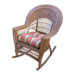 Wicker Paradise - Cape Cod Wicker Rocker Natural - The Cape Cod rocker in a natural finish is made of resin wicker for total outdoors yet can be used anywhere in the house. The rocker is built on an aluminum frame to weather indoor and outdoor conditions. The rocker chair measures 29 inches wide, 36 inches deep, 40 inches high. Cushions are not included.