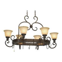 Golden Lighting - Golden Lighting 8063-PR62 BUS 8-Light Pot Rack - Golden Lighting 8063-PR62 BUS 8-Light Pot Rack