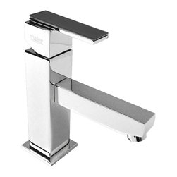 Maier - Kromatic Kuadrat Bathroom Faucet - Kromatic Kuadrant Single sink faucet only one hole with black / white handle options, made in brass polished chrome. This collection has a great variety of handle colors, handles have a colored glass on the top giving it an amazing and unique touch to your bathroom, coordinating with the rest of the room items. Beautiful faucet that raises the level of elegance in any bathroom it is installed. Designed for a lifetime of lasting beauty. Known as its fancy design. Click-clack waste included as a free gift. Very decorative. This faucet will ensure many years of trouble free use and enjoyment. Designed and Manufactured in Spain