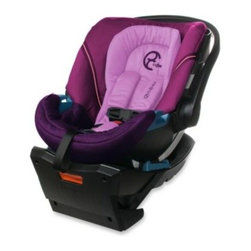 Cybex - Cybex Aton Infant Car Seat in Violet Spring - The Cybex Aton Infant Car Seat offers deep side impact protection, 5-point adjustable harness and includes a convenient stay-in car adjustable base. It has a luxurious infant insert, European styling and a sleek hidden canopy.