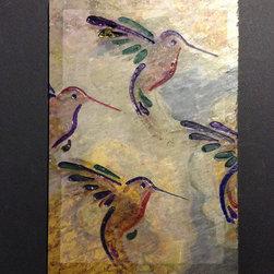 "Art Gallery Exhibition-Hummingbirds - Hand carved stone artisan tile- ""The Hummingbirds""."