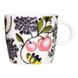 Vallila Interior - Vallila Interior Persikka Mugs - Set of 2 - Persikka mug set from Vallila Interior of Finland. Designed by  Finnish artist Tania Orsjoki. Dishwasher and microwave safe. Material: ceramic. Holds approx. 11.75 oz. Sold as a set of 2