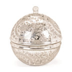 """Vintage Silver Covered Sphere - This Vintage Silver Covered Sphere will make for a splendid gift on any formal occasion. It""""s very functional and can be used to accumulate variety of miscellaneous items. It comes with authentic floral design engraved on it."""