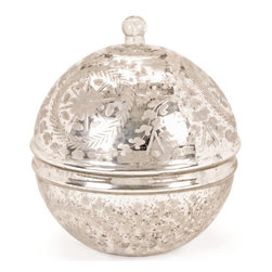 "Vintage Silver Covered Sphere - This Vintage Silver Covered Sphere will make for a splendid gift on any formal occasion. It""s very functional and can be used to accumulate variety of miscellaneous items. It comes with authentic floral design engraved on it."