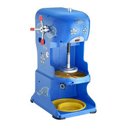 Great Northern - Great Northern Ice Cub Shaved Ice Machine - 1/3 HP. 1725 RPM's. 6 AMPS, 110V. Shaves over 350 lbs. Tinted side panels, safe, easy to clean, tinted blue to shade the ice from melting so quickly. Slanted drain deck; removable plastic tray which drains moisture away from the ice. Back-lit sign heightens visibility and adds a theatrical effect. Premium finish, heavy-duty powder coated steel and stainless steel construction for the toughest environment.  Fully adjustable stainless steel blade (replaceable). Block Ice works great. You can also use a common plastic paint bucket to freeze your perfect ice block. If you don't want to buy a bucket, use an old milk jug and cut off the top.. 6 AMPS, 110V. Shaves 6 lbs/minute (more than 350 lbs/hour). Commercial Grade. Backed up by Great Northern Popcorn's 3 year warranty! Additional Features:. The cutting blades are stainless steel so they will last a lifetime.. Machine is 15 in. L x 12 in. W X 30 1/2 in. H (60 lbs)If you are in the market for a commercial grade Ice Shaver, stop looking! These commercial quality machines feature stainless steel shaving blades, best-in class performance, a 3 year superior warranty, and an industry leading 1/3 HP motor operating at 1725 RPM's. This puppy can plow through over 350 lbs of ice an hour. Compare the Ice Cub unit to the rest of the competition. . .you won't be disappointed. Great Northern has a reputation for quality and is a leader in the concession industry. The sturdy high impact construction makes it durable, light weight, and easy to clean. As opposed to a snow cone machine which crushes ice and yields grainy ice, the Ice Cub slowly shaves the ice off the block and produces the softest / fluffiest ice in the industry. My kids loved snow cones until they realized how much softer and smoother shaved ice is. Just add Great Northern Sweet Life Shaved Ice Syrup and you have a recipe for success.