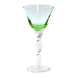 Artistica - Hand Made in Italy - Adriana: Wine Goblet, Verde Pisello, 4'' Diameter X 9.5'' High - Our new Adriana Collection features exquisite stemware silhouettes patterned after 18th century originals. Fully hand-made by Italian master artisans.