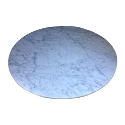 """Pre-owned Statuary Marble Coffee Table Top - This is a brand new, just completed, unused round table top sourced with honed statuary marble from Fox Marble in San Francisco.  It is gorgeous but is unfortunately no longer needed for the project for which it was completed.  37"""" in diameter and 3/4"""" think."""