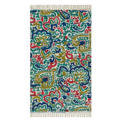 Loloi Rugs - Loloi Rugs Aria Collection - Blue / Multi, 3' x 3' Round - Expressive and relaxed, stylish and fun. The Aria Collection from India has it all. Pretty paisley patterns, flourishing flowers, dreamy damasks and magical medallion designs are printed onto 100% recycled cotton Chindi for scatter rugs that are flirty and fashionable. Dressed in a palette of bold, saturated colors that take you from cool blues and pinks to warm spice tones and modern tropical hues, too, Aria rugs come in select scatter sizes that will accent choice spaces with flair.