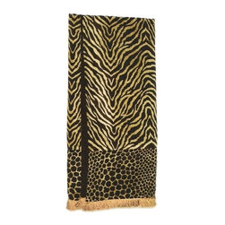 "Canaan - Animal Print Tiger Brown Chenille Throw Blanket - Animal print tiger brown chenille throw blanket with soft liner and fringed trim. Measures 46"" x 68"". These are custom made in the U.S.A and take 4-6 weeks lead time for production."