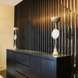 Bamboo Credenza. - The outer frame of this custom made credenza is in high gloss bamboo and all the doors and drawers in rift oak with 45 degrees handles.