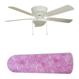 "Pink Sparkle Princess 52"" Ceiling Fan with Lamp - This is a brand new 52-inch 5-blade ceiling fan with a dome light kit and designer blades and will be shipped in original box. It is white with a flushmount design and is adjustable for downrods if needed. This fan features 3-speed reversible airflow for energy efficiency all year long. Comes with Light kit and complete installation/assembly instructions. The blades are easy to clean using a damp-not wet cloth. The design is on one side only/opposite side is bleached oak. Made using environmentally friendly, non-toxic products. This is not a licensed product, but is made with fully licensed products. Note: Fan comes with custom blades only."