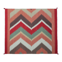 Navajo Design Colorful Area Rug 8X10 Hand Woven 100% Wool Flat Weave Rug SH11204 - Soumaks & Kilims are prominent Flat Woven Rugs.  Flat Woven Rugs are made by weaving wool onto a foundation of cotton warps on the loom.  The unique trait about these thin rugs is that they're reversible.  Pillows and Blankets can be made from Soumas & Kilims.
