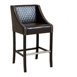 Great Deal Furniture - Milano Brown Leather Counter Stool - We've found the perfect addition to your great room! Covered in rich, brown leather and accented with diamond-stitched quilting and chrome studs, this elegant counter stool is both stylish and comfortable. Most importantly, it looks good in both the kitchen and family room.