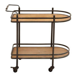 Double Decker Tea Cart - Wood and metal meet to make this tea cart a cool option for less traditional kitchens. The wooden levels are framed by black metal posts with a simple, minimalist shape for maximum style.