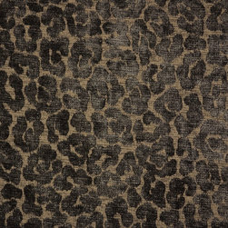 Kauf - Mombassa Java Chenille Animal Print Upholstery Fabric By The Yard - Beautiful chocolate brown chenille upholstery fabric from Braemore and PKaufmann. Pattern Mombassa in color Java is very soft and durable, great for any upholstery project. Cover a chair and ottoman, pillows, a cornice board or use as drapery panels. The cheetah pattern is a dark chocolate brown on a lighter brown background.