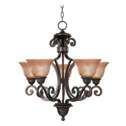 Maxim Lighting - Maxim Lighting Symphony 1 Tier Chandelier in Oil Rubbed Bronze - Shown in picture: Symphony 5-Light Chandelier with Screen Amber Finish Glass in Oil Rubbed Bronze Finish.