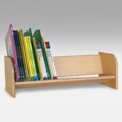 Wood Designs Book Display Rack - Use one Wood Designs Book Display Rack on top of a desk or shelf. Or purchase an army of them and line them up in places like shelves and window sills to take advantage of extra space for book storage. A perfect way to organize student binders and keep them close at hand. Made of Wood Designs hardwood plywood with rounded corners these book racks are a useful and stylish solution for many classroom challenges.About Wood Designs Healthy Early Learning FurnitureWith more than half a decade of experience manufacturing for the school and early learning industries Denny and Debbie Gosney began Wood Designs to create youth furniture that enriches the development of young children's lives. The company uses the finest quality materials and every product is inspected before it arrives in the hands of its young customers. Wood Designs' highly skilled craftspeople use their experience to make premium safe quality furniture designed with kids in mind. In 2008 Wood Designs introduced a new line of furniture that offers the safest strongest most environmentally friendly products available for classroom use. Safety features include recessed backs and extra depth for stability rounded edges Tip-Me-Not doors that go all the way to the floor so it's more difficult for children to pull over the furniture and Pinch-Me-Not continuous hinges that help prevent pinched fingers. All Wood Designs furniture receives a triple coat of Healthy Kids Tuff-Gloss™ the company's GREENGUARD certified UV finish - tough durable stain and chemical resistant and easy to clean. Furniture is constructed with a strong (and beautiful) mortise glue and steel pin assembly method. Wood Designs assembly is many times stronger than furniture assembled with pencil-thin dowels and all pieces include a lifetime warranty.