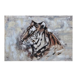 Ren-Wil - Ren-Wil OL841 Tigress Horizontal Canvas Wall Art by Liza Stones - This hand embellished Tigress piece features a bold tiger on a neutral abstract background.