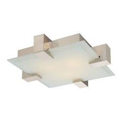 Dakota Ceiling Flush Mount by Sonneman A Way Of Light - Dakota ceiling flush mount features an etched glass diffuser. Finish available in a saint nickel and polished chrome. Available in ceiling flush mount, square wall sconce and rectangular wall sconce version. Fixture is available with incandescent or compact fluorescent lamping option. Four 40 watt, 120 volt, B10 candelabra base incandescent lamps not included or two 26 watt, 120 volt, T4 G24Q-3 base compact fluorescent lamps not included. General light distribution. Canopy is 11 inches square. Glass is 16 inches square. 19W x 5H x 19L.