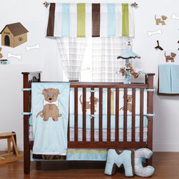 "Puppy Pal Boy - Infant Set (4pc) - Let the Puppy out to play with ""One Grace Place"" Puppy Pal Boy collection.  This 4 pc set includes 4pc bumper, crib bed skirt, crib sheet and coordinating quilt.  4 pc bumper is a combination of ""One Grace Place"" designer cotton print fabric and soft minky fabric.  Bumper is full of life with our ""Puppy Pal"" showcased throughout using details in the collections blue and green hues!    Crib sheet in the collections signature print ""Give a Dog a Bone"" cotton print fabric in soft blue.  Bed skirt showcases ""One Grace Place"" Doggy Dip Blue cotton print fabric trimmed in blue and green minky fabric.   Puppy Pal coordinating quilt  is amazing and so fun!  Soft minky on both sides make this the perfect blanket anytime and anywhere!  The collections ""Puppy Pal"" is appliqu�d on the front and the back of this fun quilt!  Front in blue and back in green --all in Minky!  Quilt is trimmed in chocolate brown using our soft satin.  A collection to make you smile in every way!  SAVE WHEN YOU BUY AS A SET!"