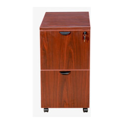BossChair - Boss Mobile Pedestal, File/File Cherry 16 x 22 x 29.5H - The mobile pedestal has two file drawer for extra filing space and portability. The Cherry laminate is attractive and compliments the groupings other pieces. It is not intended for use beneath a work surface.