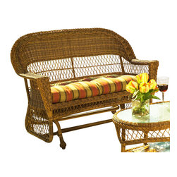 WickerParadise - Wicker Glider Loveseat: Cape Cod Glider - If you're young at heart, you gotta love a glider! This sturdy, stylish piece evokes that laid-back beach cottage vibe — ideal for your outdoor decor.