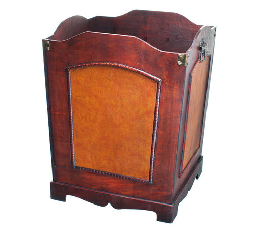 Antique Wooden Waste Can - Bin with Handle - This beautiful Waste Can by Quickway Imports is great for use in bathroom, bedroom, office and living room.