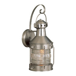Exteriors by Craftmade - Nautical Nickel Outdoor Wall Mount - With a nod to maritime design, this outdoor lantern will lend charm to your outdoor space.  It is crafted of brass and features a burnished nickel finish.   Exteriors by Craftmade - Z114-28