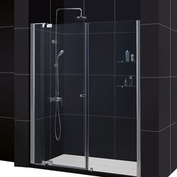 DreamLine - DreamLine SHDR-4260728-01 Allure 60 to 67in Frameless Pivot Shower Door, Clear 3 - The Allure pivot shower door will give any bathroom a fresh perspective with clean lines and a flexible installation. A frameless design and premium 3/8 in. thick tempered glass deliver the look and feel of custom glass at an excellent value. 60 - 67 in. W x 73 in. H ,  3/8 (10 mm) thick clear tempered glass,  Chrome hardware finish,  Frameless glass design,  Width installation adjustability: 60 - 67,  Out-of-plumb installation adjustability: Up to 1 in. one side (total 1 in.),  Pivot shower door,  Anodized aluminum wall profiles,  Unique adjustable pivot door hardware,  Door opening: 24 3/4 - 30 3/4 in.,  Two stationary panels: 6 in. and 24 in.,  Material: Tempered Glass, Aluminum