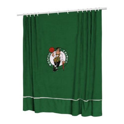 Sports Coverage - Sports Coverage NBA Boston Celtics Sideline Shower Curtain - Spruce up your Bathroom and show your NBA spirit with this Boston Celtics Sideline Shower Curtain from Sports Coverage! This NBA Shower Curtain is the perfect for any real fan.   Features:   -  Centered NBA team logo on team colors,    - Soft leather texture-printed stripe,    -  Officially Licensed,    -  Machine washable,     -  Made in USA,    - 72 H x 72 W,