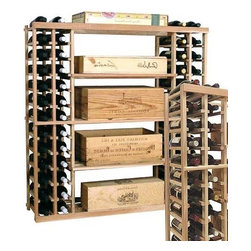 Wine Cellar Innovations - Vintner 4 ft. Case Storage Wine Rack (All-Heart Redwood - Midnight Black Stain) - Choose Wood Type and Stain: All-Heart Redwood - Midnight Black StainBottle capacity: 144. Custom and organized look. Four open compartments in the center. Individual wine display storage on both sides. Versatile wine racking. Can accommodate just about any ceiling height. Optional base platform: 45.69 in. W x 13.38 in. D x 3.81 in. H (5 lbs.). Wine rack: 45.69 in. W x 13.5 in. D x 47.19 in. H (7 lbs.). Vintner collection. Made in USA. Warranty. Assembly Instructions. Rack should be attached to a wall to prevent wobble
