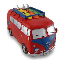Zeckos - Red and Blue Surfer Van Large Piggy Bank Bus - This colorful cold cast resin surfer van money bank really brightens up a room. The bank features a wild paint scheme and three surf boards loaded up and ready to go. The van measures 6 1/2 inches tall, 5 inches wide and 11 1/2 inches long. The bank empties via a twist-off plastic piece on the bottom. It is hand-painted, and makes a great gift for surfers or any fan of vintage buses.