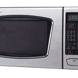 Emerson Radio Corp. - 0.9Cu Ft Microwave Oven - Emerson 900 Watt Touch-Control Stainless Steel Microwave Oven with 0.9 Cubic Feet of Cooking Space; Stainless Steel Front and Black Housing; 11 Power Levels; 6 One-Touch Settings; Child-Safe Lock-Out Feature.