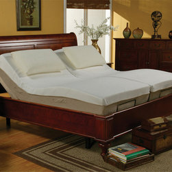 """Coaster - Casual Twin Long Size Adjustable Bed Frame ONLY - The Coaster adjustable bed provides you with customized comfort maximizing the use and health benefits of your bed by raising the head and foot of the bed to your desired position. With an adjustable bed, you have the luxury of creating your very own personalized comfort zone to return to day and night. The Coaster adjustable bed paired with our Visco Memory foam mattress allows you to pamper yourself. It is not only designed to provide you with an exceptional sleep experience, but it provides you with unsurpassed comfort for reading, watching television, working on your laptop computer, or simply relaxing on the pressure relieving, body conforming comfort of a visco memory foam mattress in the privacy and comfort of your bedroom. The adjustable bed is made of re-enforced steel and slips easily into an existing bed frame or can be used as a stand-alone bed. It features one of the quietest motors on the market and a sleek, stylish, streamlined design. It comes with 5"""" legs which can be removed in order to place the adjustable bed unit directly on the floor. The adjustable base also has a massage feature that is available on the head, feet or both. It has three levels of intensity. The wireless remote has a simple design with large raised buttons and is backlit for ease of use in the dark.; Casual Style; Wireless, backlit remote which has a simple design with large raised buttons; Massage feature with three levels of intensity; Made with body-conforming visco memory foam to provide you with ultimate support and comfort; One of the quietest motors on the market; Removable legs to give you complete control; No assembly required.; Dimensions: 80""""L x 38""""L"""