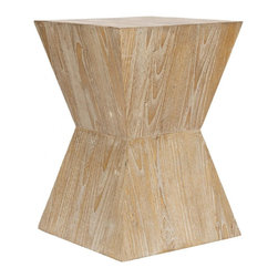 Safavieh - Noatak Side Table - Make a graphic statement with the Noatak side table, its strong solid structure softened with distressed oak finish on beautifully patterned Sungkai wood. The prominent grain and pale neutral color complements transitional and contemporary furnishings. No assembly required