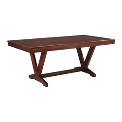 Somerton Home Furnishings Inc - Somerton Studio Trestle Table - Mid-Tone Brown Mahogany - 431-62 - Shop for Dining Tables from Hayneedle.com! Stylishly seat up to six people around the Somerton Studio Trestle Table Mid-Tone Brown Mahogany. This transitional contemporary table has a sumptuous large open top and a spacious V-shaped trestle design below mixing clever lines with easy simplicity. Choose your own chairs or match it with chairs from the Somerton Studio collection (sold separately). The Somerton Studio collection is inspired by styles from the Art Deco period and updated with a confidence and style that s designed to fit in the modern home. Finished with solid wood veneer and brushed arched nickel hardware every Studio piece features smart design and functional style. To clean use only a dry or damp cloth no oil-based cleaners. About Somerton Home FurnishingsFor over 20 years Somerton has meant quality furniture and a quality company. Its warehouses and distribution centers located both in the United States and China provide environmentally friendly manufacturing locations as well as mindful employment spaces. Top-of-the-line materials such as eco-friendly rubberwood solid wood and wood veneers are used to create Somerton pieces. Any Somerton furnishing you choose will make a welcome stylish addition to your home.