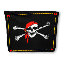 Zeckos - Super Soft Jolly Roger Pirate Fleece Throw Blanket 60 x 50 in. - Avoid a chill at the stadium, around the campfire, or curled up on the couch with this soft fleece throw blanket. It features a Jolly Roger skull and crossbones in the center with a treasure map inspired border. The blanket measures 60 inches (5 feet) long, 50 inches (4.2 feet) wide, and the edges are finished with a blanket stitch. It is 100% polyester, and recommended care instructions are to machine wash in cold water and air dry. It makes a great birthday or holiday gift that is sure to be loved.