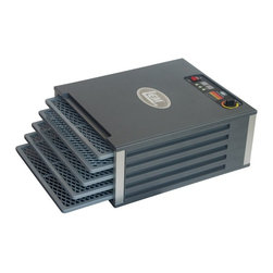 LEM - LEM 1009 5 Tray Food Dehydrator with Digital Timer Multicolor - 1009 - Shop for Food Dehydrator from Hayneedle.com! How can you dry 8 square feet of surface area in a unit only 19 inches wide? It's magic with the LEM 1009 5 Tray Food Dehydrator with Digital Timer. It dehydrates as much food as bigger models and it's made with the same sturdy construction but the square shelves are more efficient. Make everything from fruit leathers and jerky to dried flowers. The five shelves are strong and dishwasher-safe. Each tray is independently removable so you can check dryness without disturbing the other trays. The thermostat adjusts easily for whatever items you're drying. Horizontal airflow dries more evenly and doesn't mix food aromas so you can dry meats and fruits in the same batch. Dimensions: 19W x 16D x 8H inches. One-year manufacturer's warranty. Fast convenient and dee-lish!About LEM Products LLCLEM Products is a mail order online and wholesale company that sells meat-processing equipment supplies and seasonings for hunters and home processors to make jerky sausage and more. Based in Harrison Ohio LEM Products was founded in 1996 by Larry Metz an avid hunter and longtime meat cutter at a large food-service company. LEM offers more than 700 different products and has a presence in more than 600 retail stores throughout North America. The company is committed to providing high-quality products and exceptional service to its customers.
