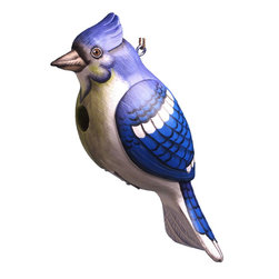 Songbird Essentials - Blue Jay Birdhouse - Songbird Essentials adds color and whimsy to any garden with our beautifully detailed wooden birdhouses that come ready to hang under the canopy of your trees. Hand-carved from albesia wood, a renewable resource, each birdhouse is hand painted with non-toxic paints and coated with polyurethane to protect them from the elements. By using all natural and nontoxic components Songbird Essentials has created a safe environment complete with clean-out for our feathered friends.