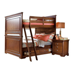 Lea Industries - Lea Elite Classics 5-Piece Bunk Kids' Bedroom Set in Brown Cherry - Welcome to the Lea Elite collections, Classics. A clean, traditional group with Louis Phillipe design influences such as heavy moldings and bases with broad plasters. Tops and door panels on case pieces are accentuated with black marquetry style inlays. The finish is a medium brown cherry color. The custom designed hardware knobs are in a soft silver with gold color overtones. The design of this collection lends itself to fit into any bedroom setting: Boys, girls, 2nd bedroom or even smaller master bedrooms. Classics is a versatile group that offers a lasting style that works in multiple settings depending on bedding and accessories.