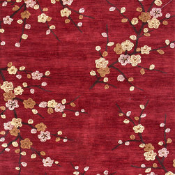 Jaipur Rugs - Transitional Floral Pattern Red /Orange Polyester Tufted Rug - BR17, 7.6x9.6 - A youthful spirit enlivens Esprit, a collection of contemporary rugs with joie de vivre! Punctuated by bold color and large-scale designs, this playful range packs a powerful design punch at a reasonable price.