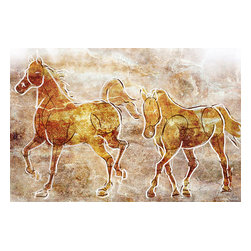 """Maxwell Dickson - Maxwell Dickson """"Horses on the Wall"""" Contemporary Canvas Art Print Artwork - We use museum grade archival canvas and ink that is resistant to fading and scratches. All artwork is designed and manufactured at our studio in Downtown, Los Angeles and comes stretched on 1.5 inch stretcher bars. Archival quality canvas print will last over 150 years without fading. Canvas reproduction comes in different sizes. Gallery-wrapped style: the entire print is wrapped around 1.5 inch thick wooden frame. We use the highest quality pine wood available."""