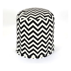 Majestic Home - Outdoor Black Chevron Small Pouf - Add comfort and flare to any room with Majestic Home Goods Indoor/Outdoor Small Pouf Ottomans. These small poufs can be used as a foot stool, side table or as extra seating in your home or backyard. The beanbag inserts are eco-friendly by using up to 50% recycled polystyrene beads. The removable zippered slipcovers are woven from Outdoor Treated polyester with up to 1000 hours of U.V. protection, and are machine-washable.