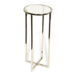Interlude - Zander Round Drink Table - The Zander Drink Table is a contemporary drink table in stainless with a glass top.