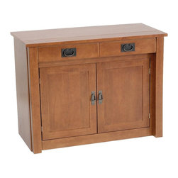 Stakmore - Shaker Mission Style Expanding Cabinet in Fru - Expand your storage and serving options. This solid wood, Shaker style cabinet has a spacious lower cabinet that stores five leaves and another for incidentals to keep any area organized. 5 butterfly leaves are included for customized function. The cabinet is completed with a fruitwood finish. Starts as basic hutch. Pull out on two false drawer handles for storage & five butterfly leaves. 26.375 in. hing. 14 in. long floor to bottom of front skirt. Made from premium wood. 38 in. W x 18.63 in. D x 29.38 in. H. Extends to 89 in. LThis clean lined console cabinet hides an amazing feature. Pull out on the two front handles and one side of a table starts extending away from the base cabinet. Using the five 14 inch wide leaves stored within the cabinet you can create a table of varying lengths up to a total of 89 inch long. This expanding cabinet is a welcome addition to the entertaining home. Use the hidden extra leg for extra center support when fully expanded.