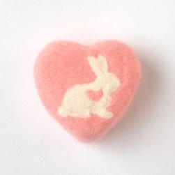 Felted Pink Soap With Lovely Bunny by SoFino - A bowl of these adorable pink felted soaps will surely make your valentine swoon.