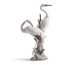 """Lladro Porcelain - Lladro Courting Cranes Re Deco Figurine - Plus One Year Accidental Breakage Repl - """"Hand Made In Valencia Spain - Included with this sculpture is replacement insurance against accidental breakage. The replacement insurance is valid for one year from the date of purchase and covers 100% of the cost to replace this sculpture (shipping not included). However once the sculpture retires or is no longer being made, the breakage coverage ends as the piece can no longer be replaced. """""""